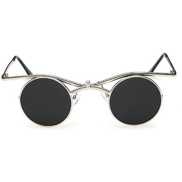 Amazon.com: MINCL/Boho Chic Gothic Steampunk Sidestreet Flip-up Round... ($13) ❤ liked on Polyvore featuring accessories, eyewear, sunglasses, steam punk glasses, gothic glasses, round sunnies, flip up glasses and mirrored lens sunglasses