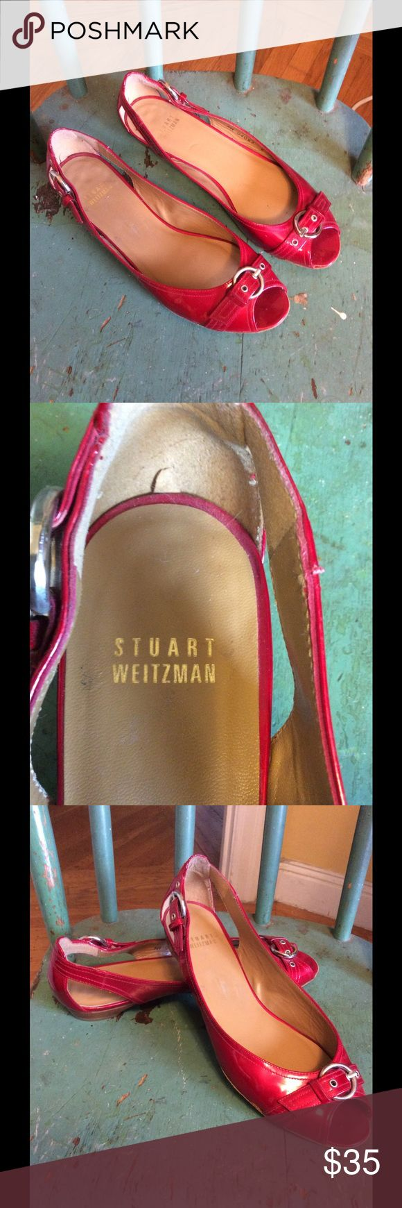 Stuart Wiseman red flats Beautiful Stuart Weitzman patent red peep toe flats Stuart Weitzman Shoes Flats & Loafers