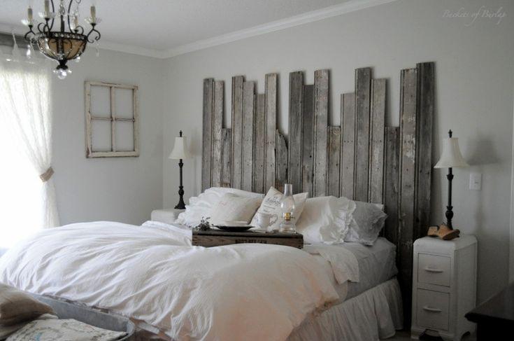 old windows and burlap   Remodelaholic   Master Bedroom With DIY Rustic Barn Wood Headboard