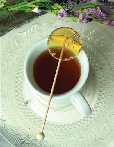 Lavender & Honey Lollipops - Wooden Stick - Dip into a hot cup of tea.