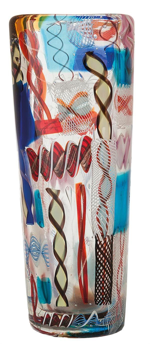DINO MARTENS (1894–1970) & AURELIANO TOSO - MURANO A translucent and polychrome quadrangular vase, with polichrome inclusions, circa 1952.