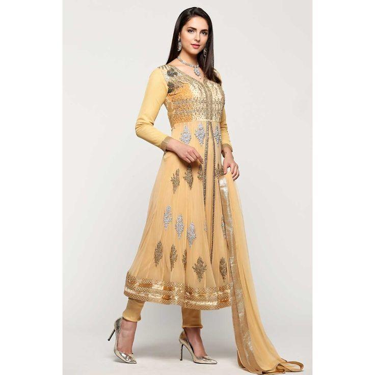 Diya collection, Anarkali churidar net cheap indian prom suit, Beige zari embroidered andaaz garments now in shop. Andaaz Fashion brings latest designer ethnic wear collection in UK   http://www.andaazfashion.co.uk/salwar-kameez/anarkali-suits/beige-net-anarkali-churidar-suit-with-dupatta-1771.html