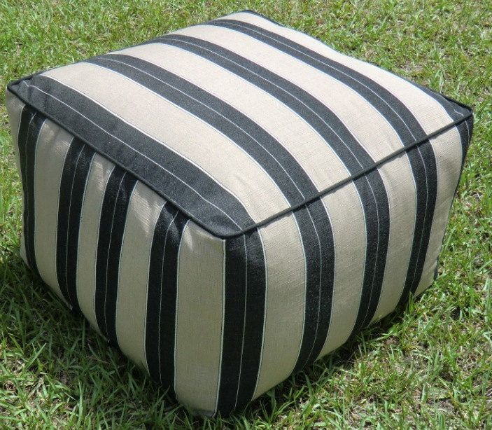 "Black striped ottoman cover, square pouf cover 20"", floor pouf cover striped black and beige,bean bag cover. $62.00, via Etsy."