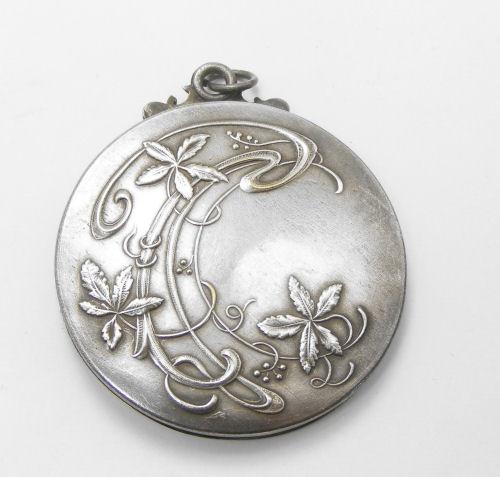 Art Nouveau Repoussé Silver Compact Mirror/Pendant