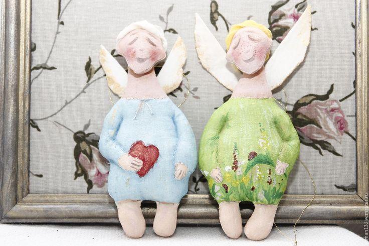 Купить Ангелы- хранители. - разноцветный, уникальная игрушка, ангел-хранитель, елочное украшение, елочные игрушки