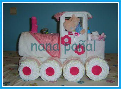 PAÑALES PARA REGALAR: Tren de pañales