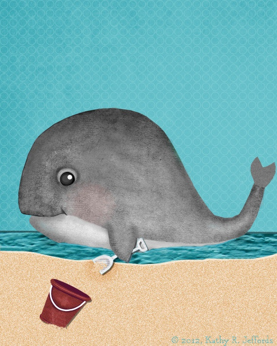 Let's Go To The Beach Cute Whale Art For Beach Or Ocean Themed Kids Room or Baby Boy Nursery. $18.00, via Etsy.