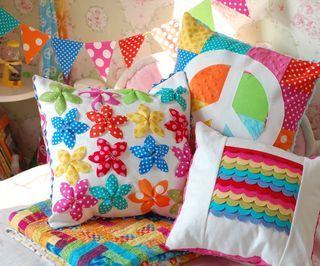 Love these bright girly pillows for my girls' rooms!