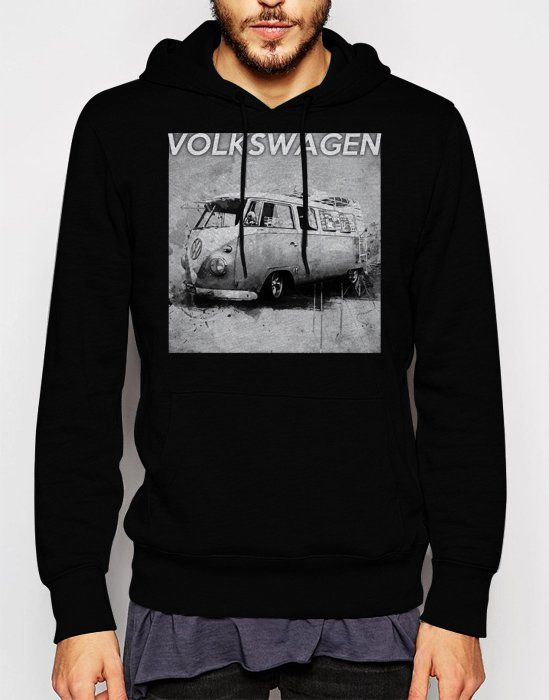 Gift+for+Men+VW+volkswagen+camper+van+kombie+bus+Black+Hoodie