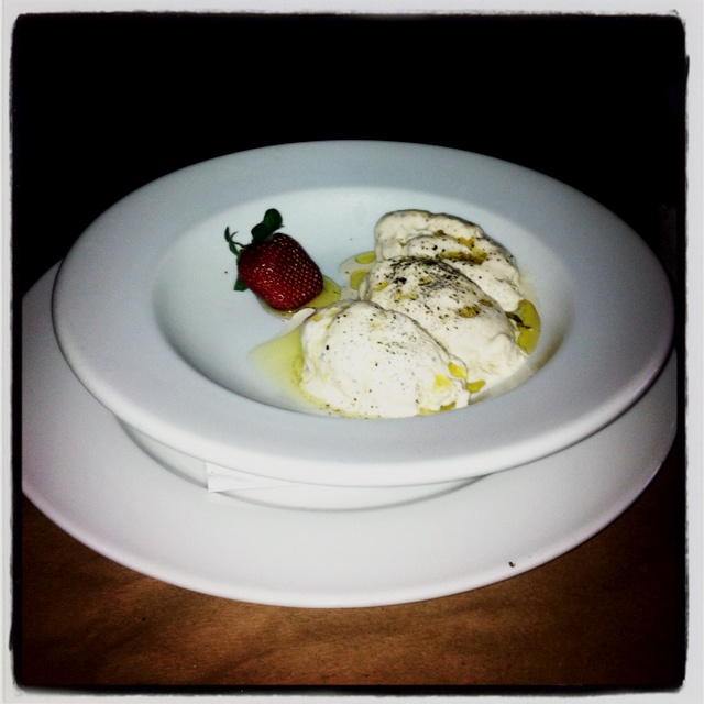 Vanilla ice cream with black salt and olive oil!
