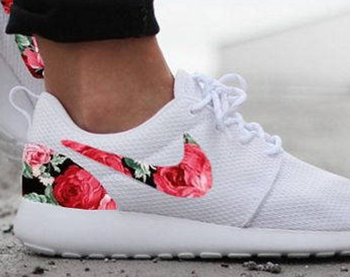Nike Roshe White with Custom Red Rose Floral Design in 2019