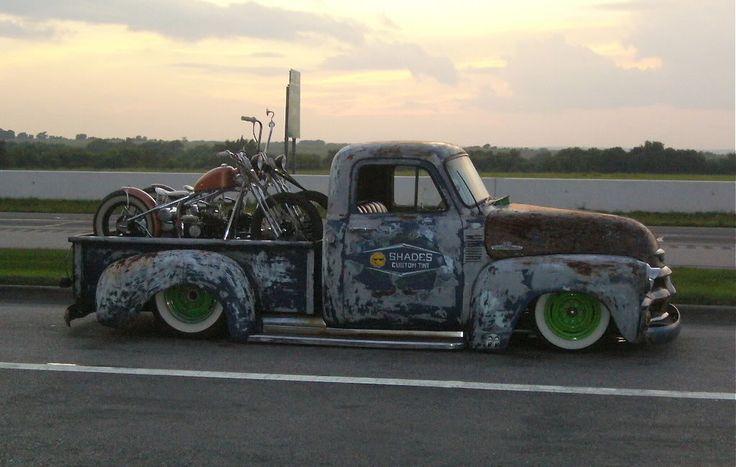 Custom bikes in a slammed old truck