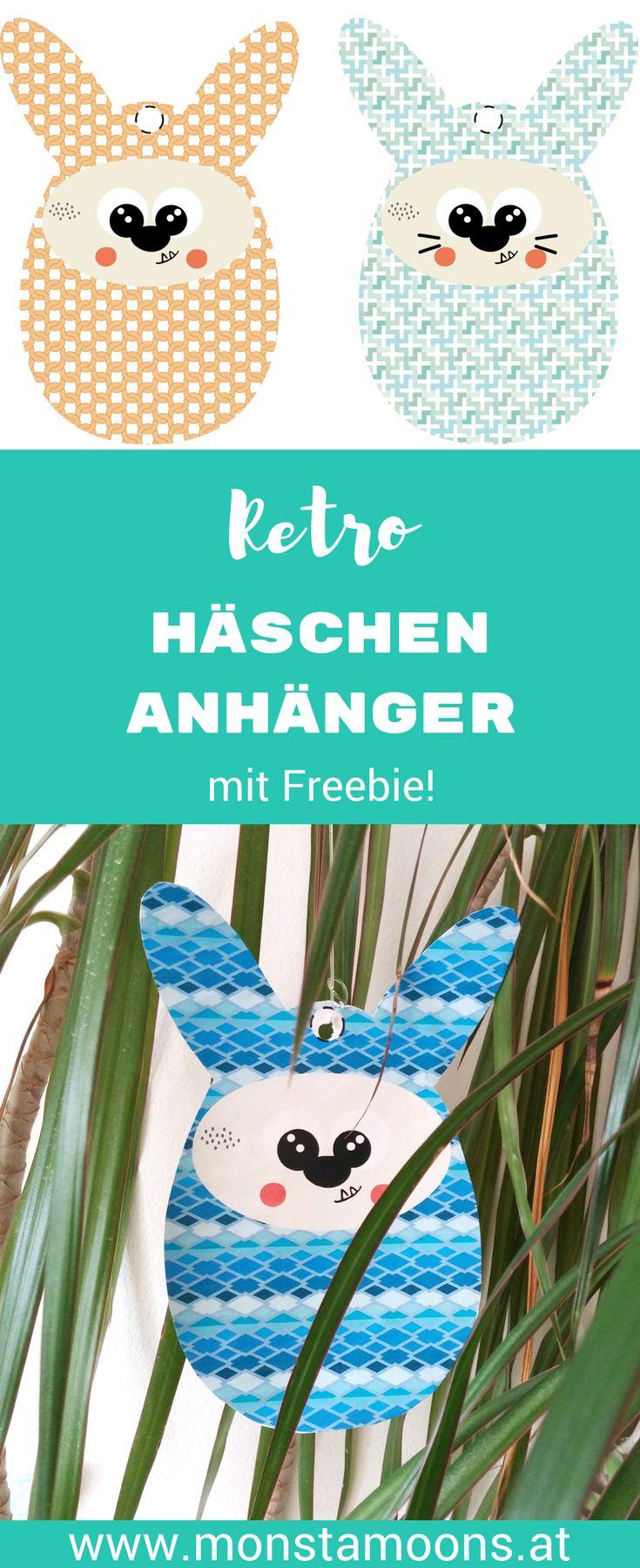 Hasendeko für Ostern, DIY Hasendeko, Hasen freebie, bunny printable, easter crafts, Monstamoons, easter pendant, Hasenanhänger