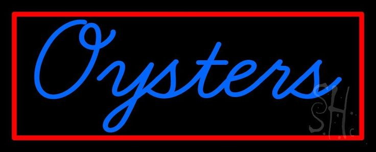 Blue Oysters Red Rectangle Neon Sign