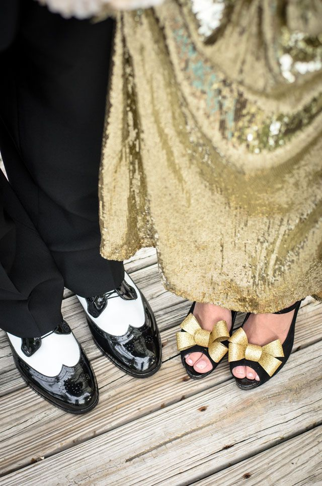 Black and Gold Wedding Shoes, photo by starfishstudios.com