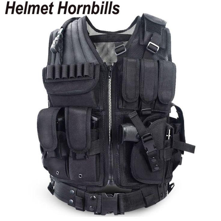Helm Hornbills Politie Tactische Vest Outdoor Camouflage Militaire Sport Dragen Jacht Vest Army Swat Molle Vest Black