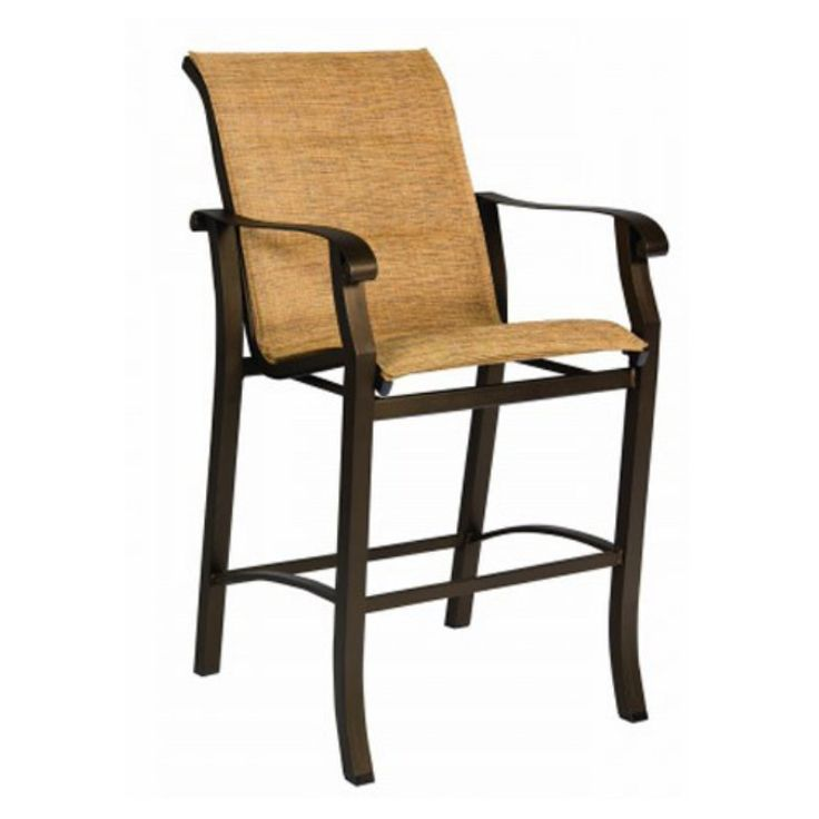 Woodard Cortland Padded Sling Aluminum Bar Stool - 420581