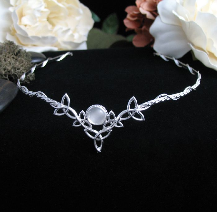 Celtic Wedding Bridal Headpiece Circlet, 8mm Natural White Moonstone, Handmade…