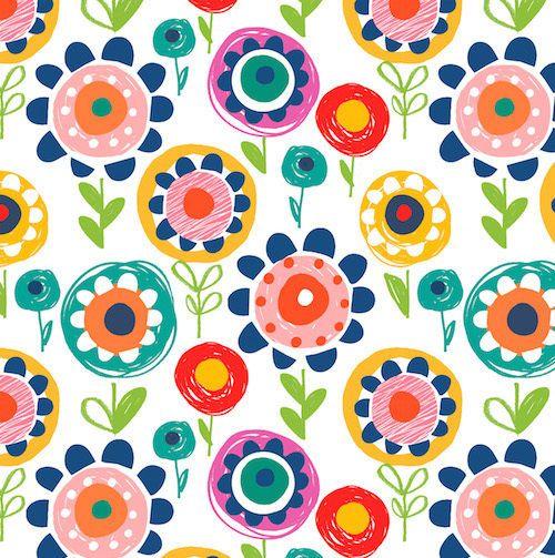 dashwood studio fabric Secret Garden Crayon Floral flower multi 100% cotton FQ