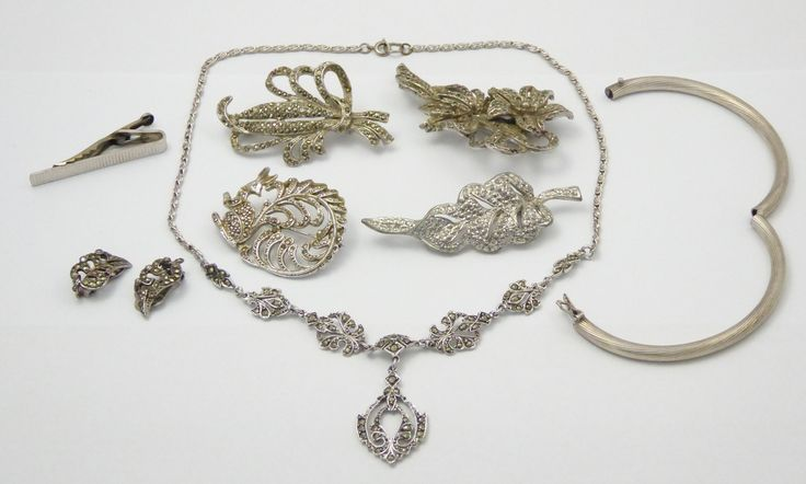 Collection of Art Deco Sterling Silver and Plated Marcasite Jewellery - The Collectors Bag