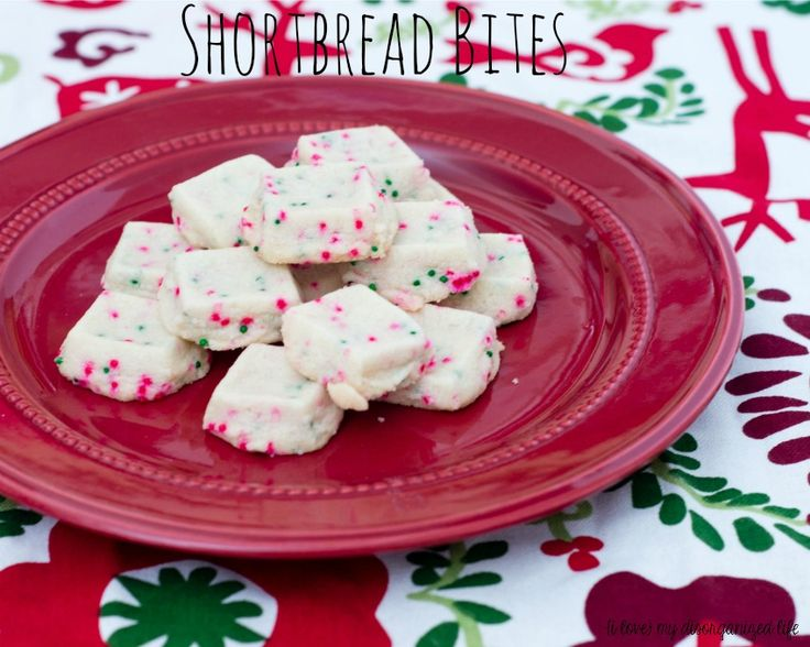 Tender, buttery Scottish shortbread is a classic Christmas cookie. These Shortbread Bites are even more festive with the addition of red and green sprinkles.