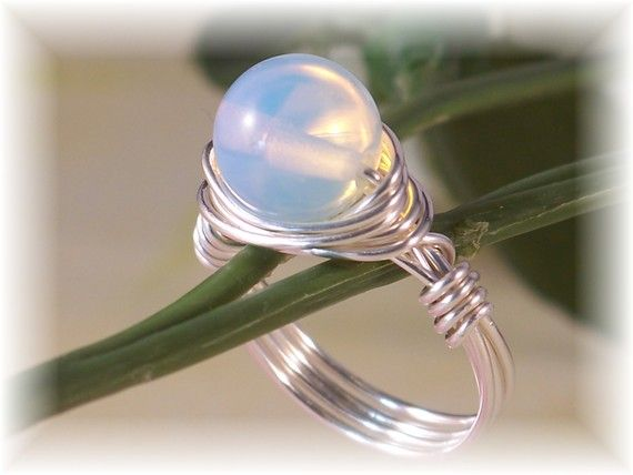 Moonstone Ring, Silver Ring, Statement Ring, Cocktail Ring, Novelty Ring, Wire Wrapped Ring, Bridal Jewelry, 2014 Trends, Valentine's Day