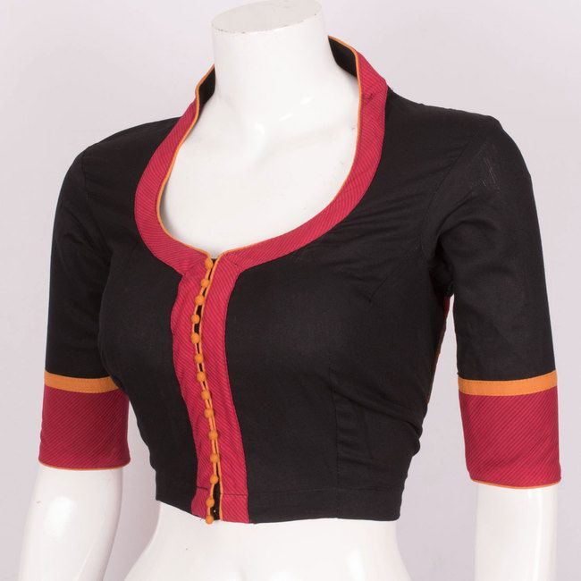 Hand Crafted Cotton Blouse With Collar Neck 10016975 Size - 40 - AVISHYA.COM