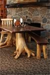 Amish Rustic Double Stump Table with Walnut Top