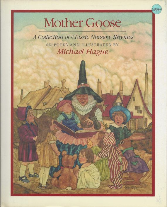 Mother Goose - A Collection of Classic Nursery Rhymes - Selected and illustrated by Michael Hague.  Mother Goose with book in her hands, with no goose visible.  However the frontispiece shows her riding through the night sky on her bird.