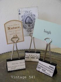 Paper Clip Photo, sign or card Holders; decorate with paper scraps; Upcycle, Recycle, Salvage, diy, thrift, flea, repurpose!  For vintage ideas and goods shop at Estate ReSale  ReDesign, Bonita Springs, FL