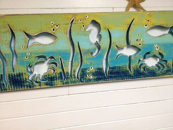 Seahorse Crab Art Panel Sign Fish in Sea Glass Colours Beach Lake House Decor by CastawaysHall - Ready to Ship