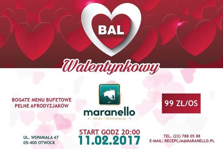 Serdecznie zapraszamy wszystkich zakochanych na Bal Walentynkowy do Restauracji Maranello :) http://www.maranello.pl/ Zabawę zaczynamy o godz. 20:00 a uświetni ją DJ Lucky. Sala nabierze uroku dzięki niesamowitym świetlnym dekoracjom, niezabraknie oczywiście czerwonych walentynkowych akcentów. W cenie 99 zł za osobę do dyspozycji będzie menu w formie bufetu szwedzkiego oraz napoje bezalkoholowe.  Tym razem Szef Kuchni przygotuje wyśmienite menu polskie. Rezerwacje są możliwe przy 2-osobowych…