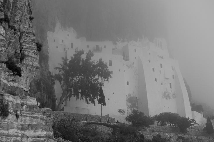 The monastery of Panagia Hozoviotissa #Amorgos Island, #Greece shrouded in mist.
