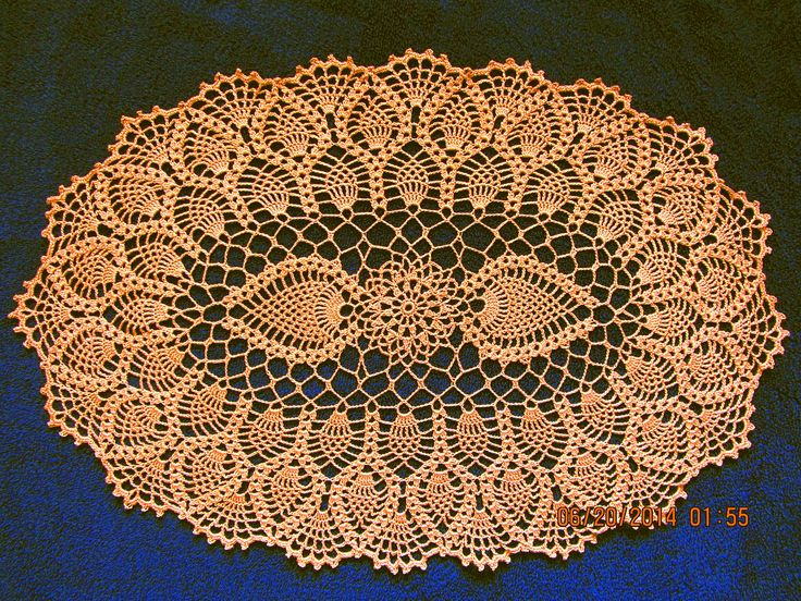 #_OVAL Pineapple Crochet Doily. Free pattern.