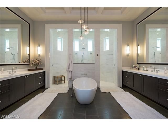 707 Fountainhead Lane, Naples, FL 34103 | Luxurious master bathroom with soaking tub and large walk through shower.  His and hers vanities.  Park Shore