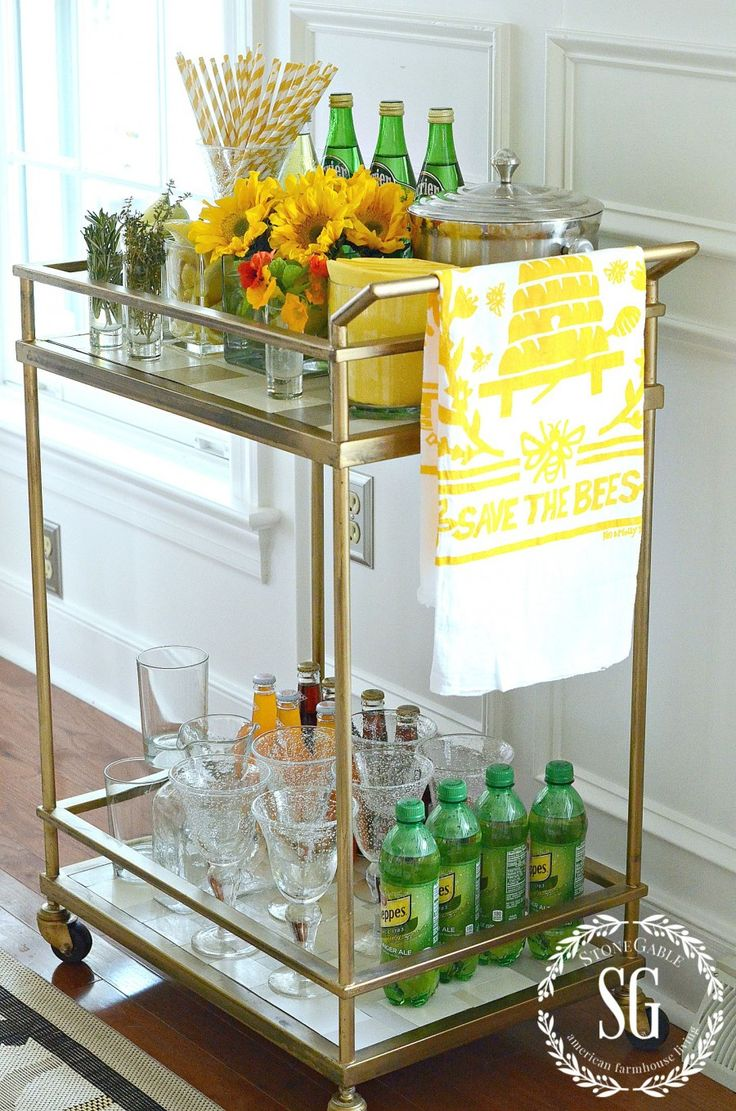 Cute staged bar cart for summer or breakfast...includes 3 non-alcoholic brunch drink recipes