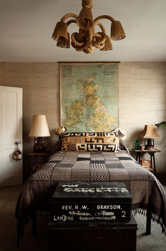 """Kuba pillow in an """"exotic travels"""" themed bedroom"""