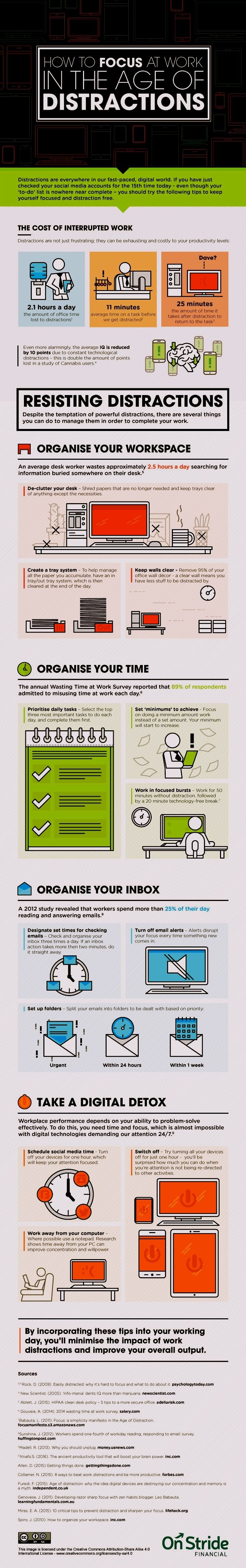 How to Stay Focused in the Age of Distractions [Infographic] . Organize your workspace. Organize your time. Organize your inbox. Take a digital detox.