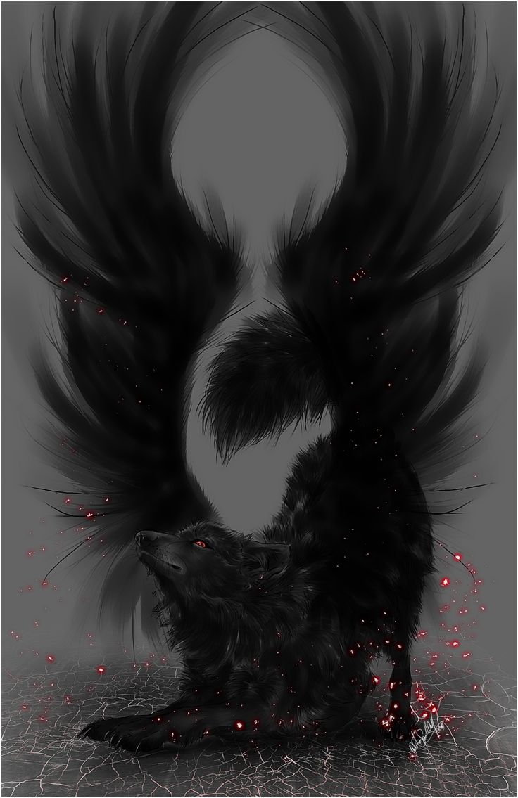 .:Black Winged Wolf:. by =WhiteSpiritWolf on deviantART