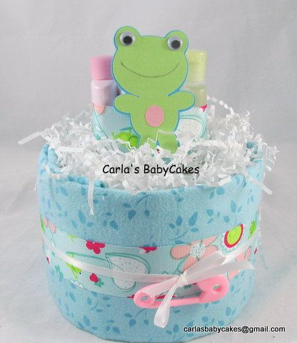 Frog Diaper Cake, Baby Diaper Cake, Girl Diaper Cake, Baby Shower Gift, Teal diaper cake, New Baby Gift, New Mom Gift, 1 Layer Cake by MsCarlasBabyCakes on Etsy