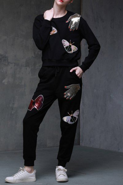 #Dezzal Shop DOMEYA Sequin Sweatshirt With Jogger Pants here, find your Women's at AdoreWe.net, huge selection and best quality.