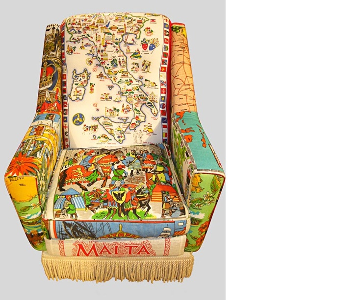 Vintage teatowel chair by Suzie Stanford _Australia