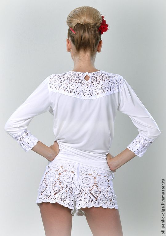 Купить Шорты летние ажурные - шорты, шортики, шорты крючком, Шорты вязаные, белые шорты