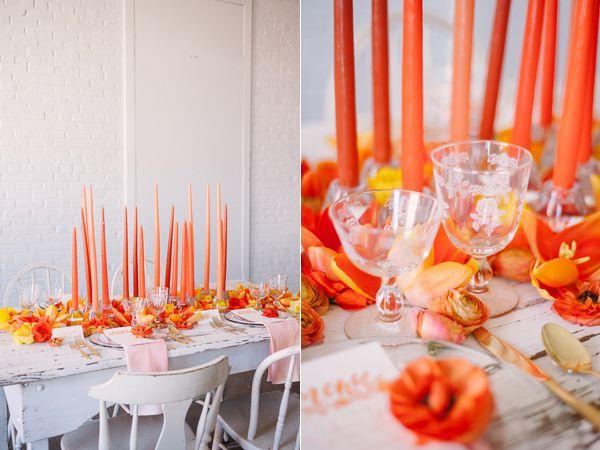 candlestick tapers - photo by Sweet Root Village http://ruffledblog.com/orange-crush-wedding-ideas