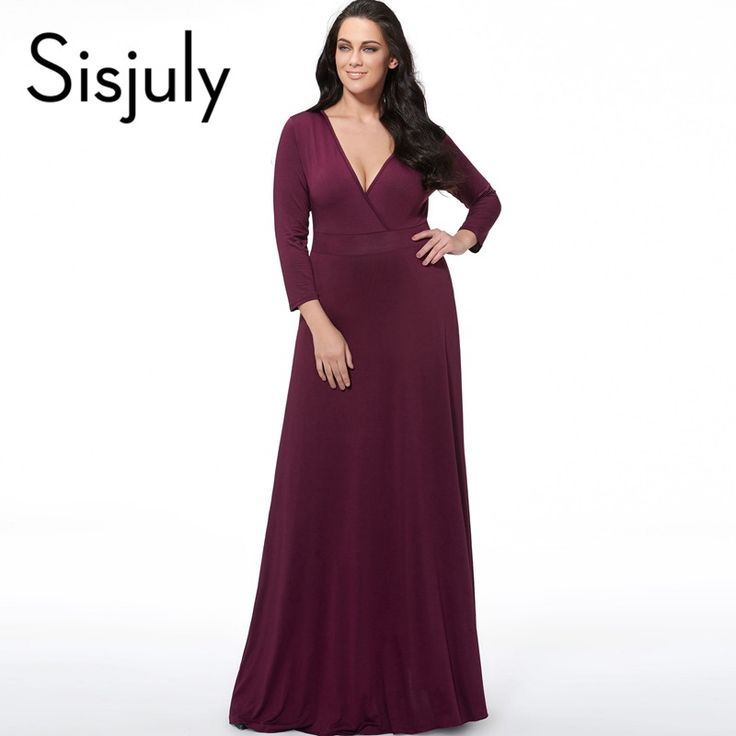 Sisjuly Plus Size Dresses Plain V-Neck Women's Long Sleeve Floor-Length Long Sleeve Party Dress Plus Size Dress