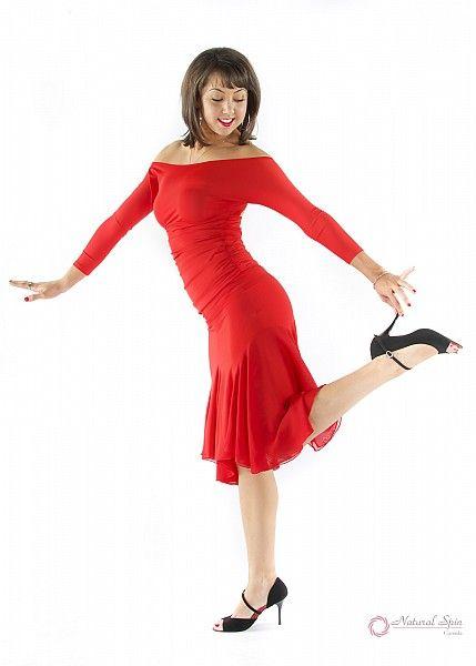 Natural Spin Signature Latin Skirt:  LS29_RED