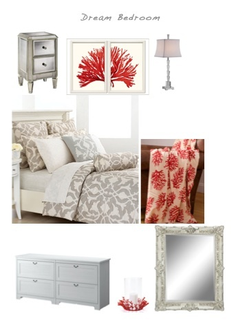 Gray Bedroom with Coral Accents