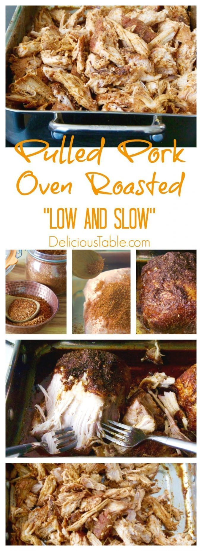 Easy Pulled Pork OVEN ROASTED is moist, slightly crispy, and super savory! Try my Homemade BBQ Dry Rub, with the low oven temperature slow roasting secrets. An incredible pulled pork recipe -- you'll want to try this one right now! #pulledpork #porkrecipes #pulledporkrecipes via @www.pinterest.com/delicioustable