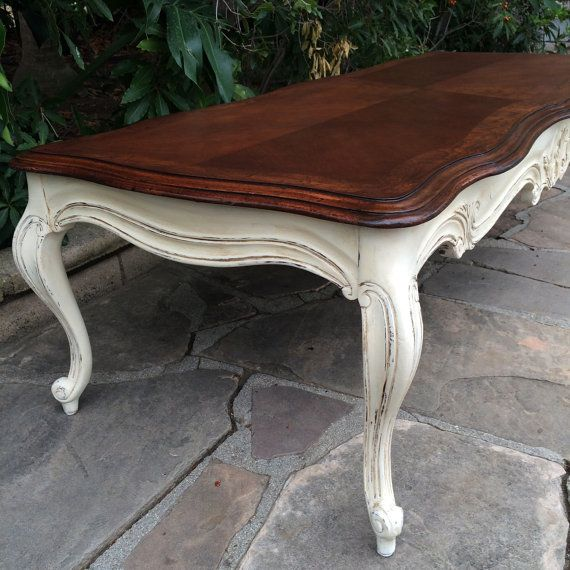 French Provincial, Solid Wood, Long Coffee Table, Refinished And Painted,  Living Room, Shabby Chic, Cottage Chic