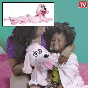 "Product # NR14109 - It's a blanket that cuddles and a puppet that plays! Adorable polyester plush character is the perfect companion during the day, night, on trips or car rides. Super soft fabric is machine washable. 34""L x 29""W.   $19.98"